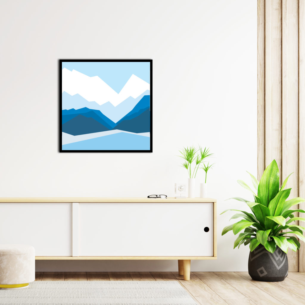 Cabinets and wall for tv in living room, Mockup white wall,3D rendering